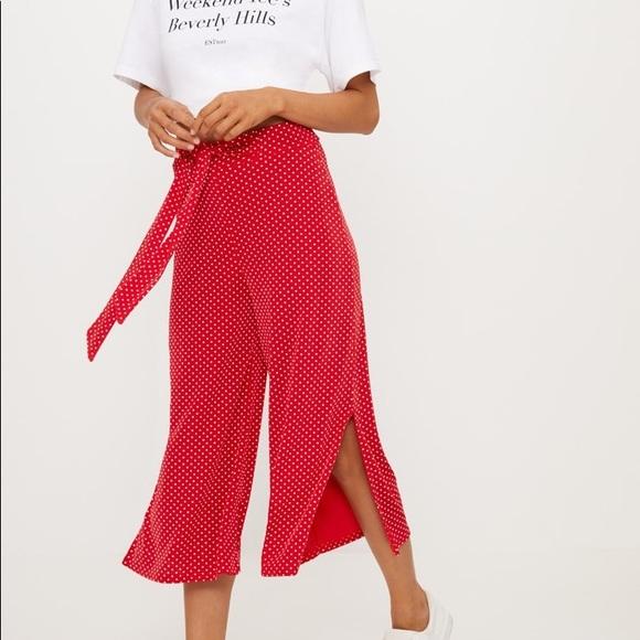 Nasty Gal Pants - Red polka dot pants